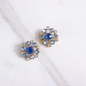 Petite Blue and White Rhinestone Scatter Pins